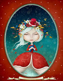 Lady Winter in an oval frame. Winter Fantasy illustration or greeting card with a beautiful Snow Maiden girl . Computer graphics Royalty Free Stock Image