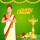 Lady wishing Happy Onam Royalty Free Stock Image