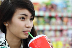 Lady With Soda Royalty Free Stock Images
