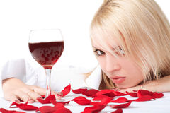 Lady With Wine Royalty Free Stock Images