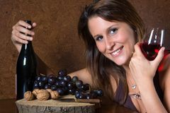 Lady With Wine Bottle Stock Image