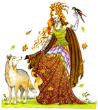 Lady of the wolves. An elven sorceress accompanied by a wolf and a woodpecker. This artwork was created manually with ink and watercolor on illustration board Stock Photo