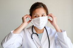 Lady or woman doctor wear the medical mask to protect infection from germ, bacteria,, corona , sars , influenza virus