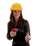 Lady worker. Demonstrating how to Stock Photo