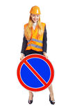 Lady Worker With Road Sign Royalty Free Stock Images