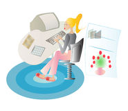 Lady working at her home office Royalty Free Stock Photo