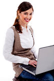 Lady Working On Laptop Royalty Free Stock Photo