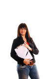 Lady with with writing pad Stock Photos
