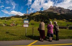 3 lady& x27; s in Adelboden Lizenzfreies Stockfoto