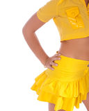 Lady in a yellow Stock Photo