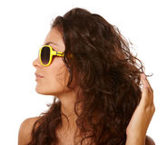 Lady in yellow glasses Royalty Free Stock Photos