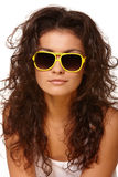 Lady in yellow glasses Royalty Free Stock Photo
