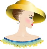 Lady in yellow hat and dress with ruches. Lady with blue eyes and blush. Yellow hat with large fields. Ruffles  have a color of combination of yellow and blue Stock Images