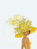 Lady in a yellow hat stock illustration