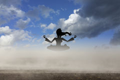 Lady yoga. Picture of a lady yoga figure Stock Photo