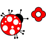 Ladybird. A vector illustration of a ladybird and a red flower Royalty Free Stock Photo