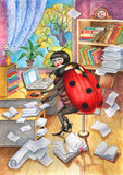 Ladybird. Funny picture: Beetle is a business woman Stock Photography