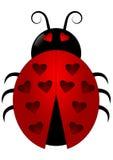Ladybird avec des taches de coeur Images libres de droits