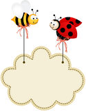 Ladybird and Bee with Cloud Label Stock Photography