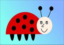 Ladybird on blue background. Vector. Illustration Stock Image
