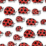 Ladybird family, seamless pattern for your design Royalty Free Stock Photo