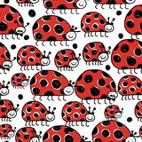 Ladybird family, seamless pattern for your design Royalty Free Stock Photos