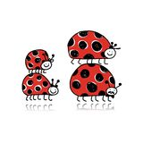 Ladybird family for your design Stock Photography