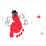 Ladybird with feet prints vector background Royalty Free Stock Photo