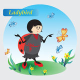 Ladybird, flowers and butterflies. Drawing for kids. Nature. The cartoon characters. Design for banner, poster, children`s goods, textiles, emblems, books, and Royalty Free Stock Image