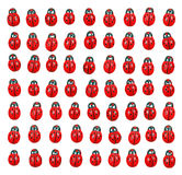 Ladybird pattern. Rows of cute colorful ladybug pattern isolated against white royalty free stock photos