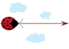 Ladybird, rainbow and arrow Royalty Free Stock Images