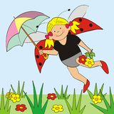 Ladybird and umbrella Stock Images