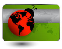 Ladybird with world map Royalty Free Stock Photography