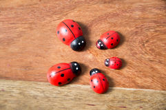 Ladybirds made of wood Royalty Free Stock Photo