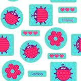 Ladybirds pink seamless vector pattern Royalty Free Stock Photo