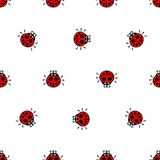 Ladybirds red seamless vector pattern Royalty Free Stock Images