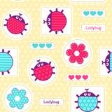 Ladybirds seamless vector pattern Stock Image