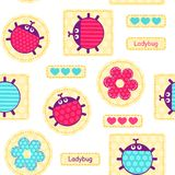 Ladybirds seamless vector pattern Royalty Free Stock Images