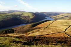 Ladybower Lake running through the Peaks Royalty Free Stock Photos