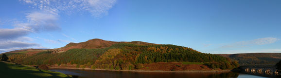 Ladybower panorama. Autumn Panorama of Ladybower reservoir in Peak District - Yorkshire Stock Images