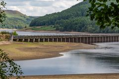 Ladybower Reservoir during a drought. The Derwent Valley Aqueduct and the Ladybower reservoir in Derbyshire, with low water levels during a drought royalty free stock photos