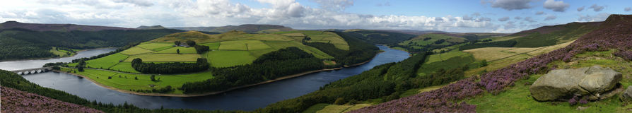Ladybower Reservoir Landscape Panoramic Stock Image