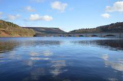 Ladybower Reservoir. The viaduct of the Ladybower Reservoir in Derbyshire, England Stock Images