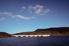 Ladybower resovoir in uk with late winter sun. royalty free stock images