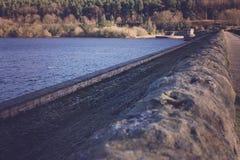 Ladybower resovoir in uk with late winter sun. Stock Photos
