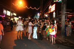 The ladyboys in phuket town ,thailand Stock Photography