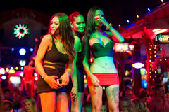 Ladyboys on the street of Patong at night Stock Photo