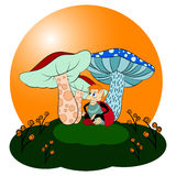 Ladybug κάτω από τα μανιτάρια απεικόνιση αποθεμάτων