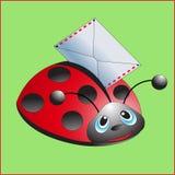 Ladybug με την επιστολή Στοκ Φωτογραφίες