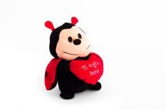 Ladybug который держит сердце стоковая фотография rf